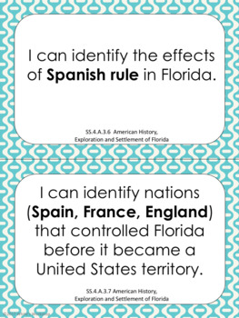 4th Grade Social Studies I Can Statements: Florida State Standards