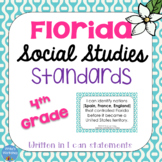 Florida Social Studies Standards: I Can Statements for 4th Grade