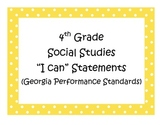 4th Grade Social Studies I Can Statements - Georgia Perfor