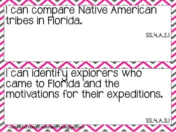 4th Grade Social Studies I Can Statements (NGSSS, Florida)