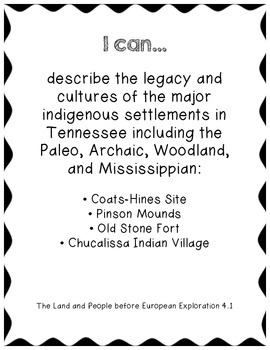 """4th Grade Social Studies """"I Can"""" Statements - Tennessee"""
