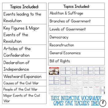 Social Studies Vocabulary Game for the Year BUNDLE!