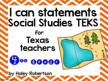 "4th Grade Social Studies ""I can"" statements- Chevron pattern (using TEKS)"