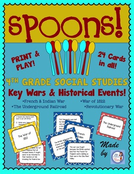 4th Grade Social Studies Important Wars & Events Review:  SPOONS GAME!