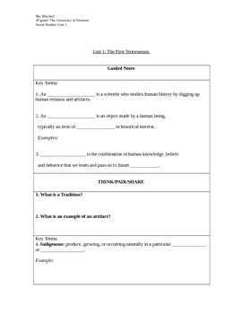 4th Grade Social Studies Key Terms, guided notes and independent practice