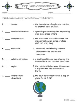 4th Grade Social Studies Map Skills Assessment & Vocabulary Cards
