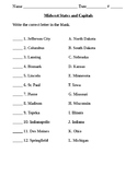 4th Grade Social Studies Midwest States and Capitals Test (Hard)