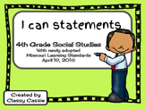4th Grade Social Studies Missouri Learning Standards I can Statement & Checklis