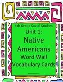 4th Grade Social Studies Native American Unit Word Wall Cards