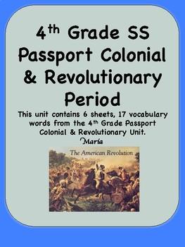 4th Grade Social Studies Passport Colonial / Revolutionary War Vocabulary Cards