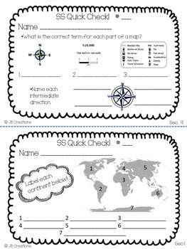 4th Grade Social Studies Quick Check Spiral Review Set (Ohio Model Standards)