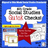4th Grade Social Studies Quick Check Spiral Review Set (Oh