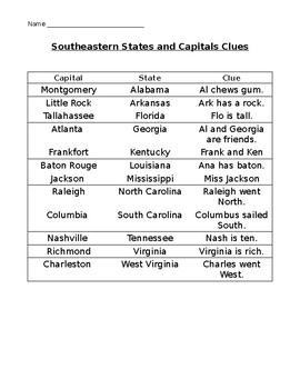 Southeast States Capitals Worksheets & Teaching Resources | TpT on
