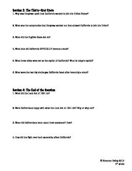 4th Grade Social Studies Study Guide-Statehood For California