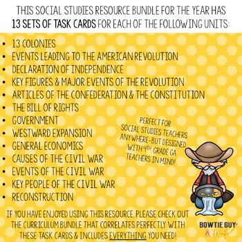 Social Studies Task Cards Revolution to Reconstruction BUNDLE