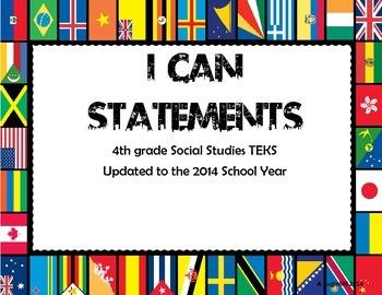 4th Grade Social Studies TEKS I can Statements