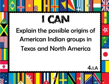 4th Grade Social Studies TEKS I can Statements
