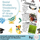 4th Grade Social Studies Vocabulary Cards: All Year BUNDLE