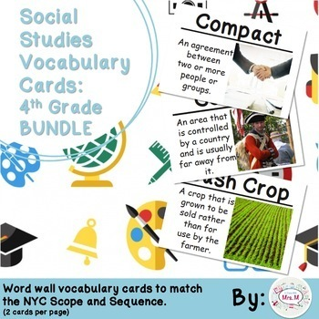 4th Grade Social Studies Vocabulary Cards: All Year BUNDLE (Large)