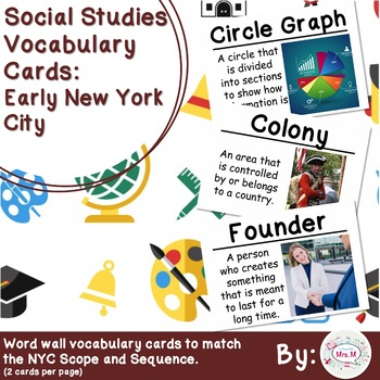 4th Grade Social Studies Vocabulary Cards: Early New York City (Large)