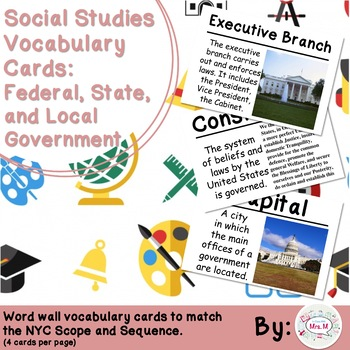 4th Grade Social Studies Vocabulary Cards: Federal, State, & Local Government