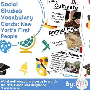 4th Grade Social Studies Vocabulary Cards: New York's First People