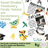 4th Grade Social Studies Vocabulary Cards: Colonial and Revolutionary Periods