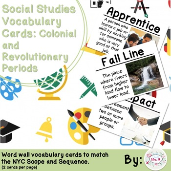 4th Grade Social Studies Vocabulary Cards: The Thirteen Colonies (Large)