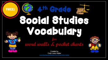 4th Grade Social Studies Vocabulary words for Pocket Chart