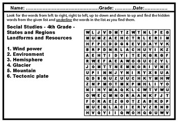 4th Grade Social Studies, Word Search Worksheets, US Social Studies Sub Plans