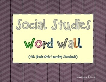 4th Grade Social Studies Word Wall