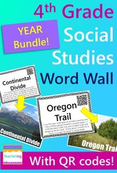 4th Grade Social Studies Word Wall BUNDLE {120 words w/ QR codes & definitions}