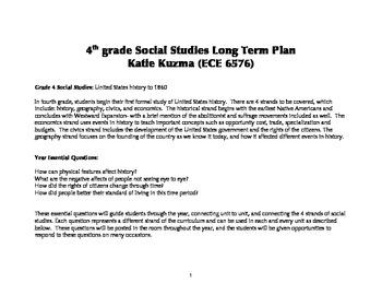 4th Grade Social Studies Year Plan