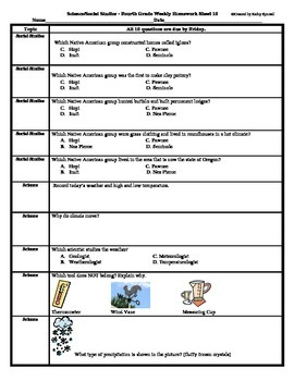 4th Grade Social Studies and Science Spiral Homework - Entire Year