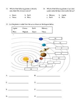 4th Grade Solar System Unit test