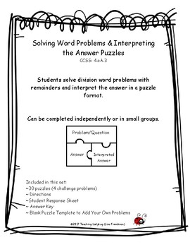 Gr. 4 Solving Division Word Problems & Interpreting the Answer Puzzles 4.OA.3