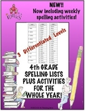 4th Grade Spelling Lists PLUS Activities for the Whole Yea