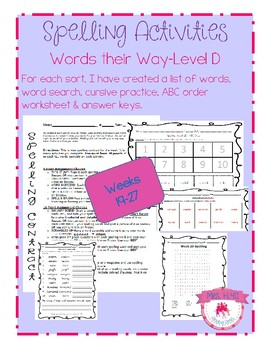 4th Grade Spelling-Weeks 19-27 (aligned with Words their Way level D)