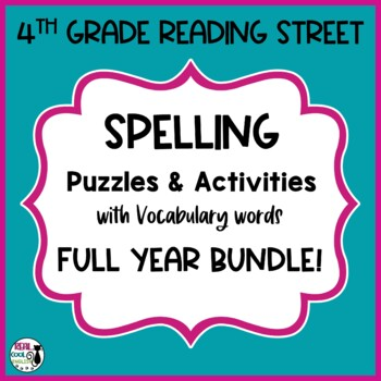 4th Grade Spelling and Vocab Activities Full Year Bundle (Printable only)