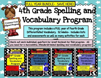 4th Grade Spelling and Vocabulary FULL YEAR Program-  Diff