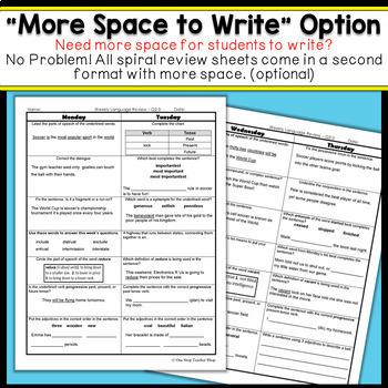4th Grade Language Spiral Review | Homework, Morning Work, Grammar Practice
