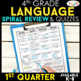 4th Grade Language Spiral Review | 4th Grade Grammar Practice | 1st Quarter