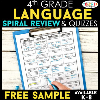 4th grade language spiral review 2 weeks free by one stop teacher shop. Black Bedroom Furniture Sets. Home Design Ideas