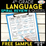4th Grade Language Spiral Review | Grammar Homework |  FREE