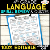 4th Grade Language Spiral Review | 4th Grade Grammar Homework ENTIRE YEAR