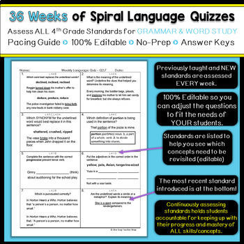 4th Grade Language Spiral Review | 4th Grade Grammar Homework ENTIRE YEAR