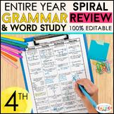 4th Grade Language Spiral Review & Quizzes | Grammar Homework or Morning Work
