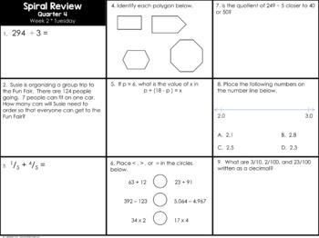 4th Grade Spiral Math Homework and Quizzes -- Quarter FOUR