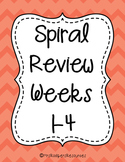 4th Grade Math Spiral Review (Weeks 1-4)