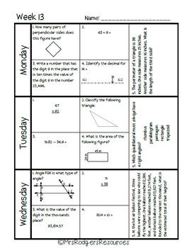 4th Grade Math Spiral Review (Weeks 13-16)